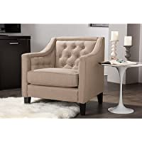 Wholesale Interiors Vienna Classic Retro Modern Contemporary Beige Fabric Upholstered Button-Tufted Armchair, Large, Taupe