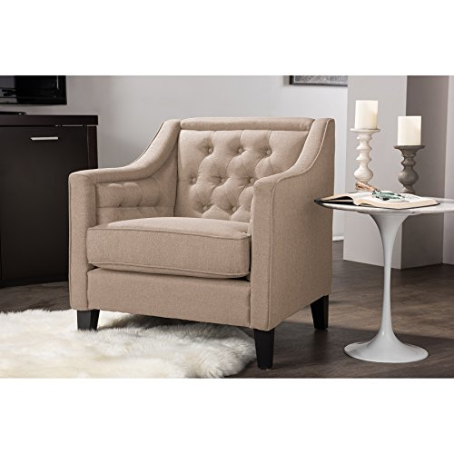 Wholesale Interiors Vienna Classic Retro Modern Contemporary Beige Fabric  Upholstered Button Tufted Armchair, Large, Taupe