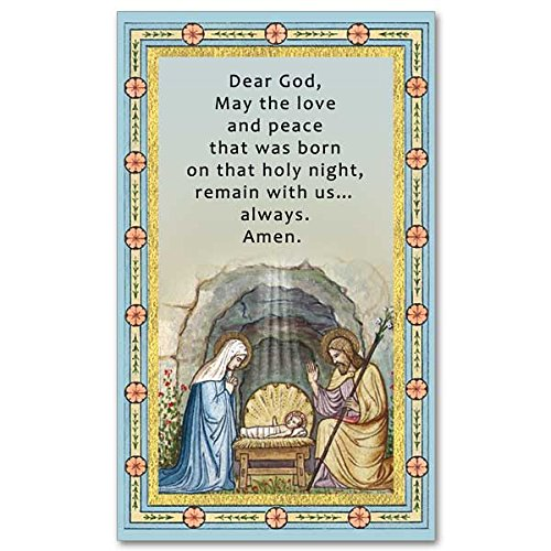 Nativity Holy Card with Christmas Prayer and Religious Eraser