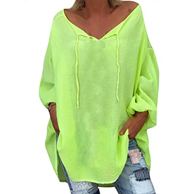 ღLILICATღ Bluas de Mujer Camisa Color Sólido Cuello en V ata para Arriba Blusa Mujer Elegante Manga Largo Camisa Suelta Mujer Casual Verano Shirts: Deportes y aire libre