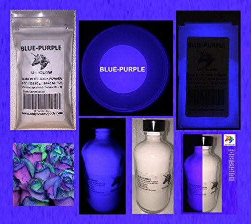 Blue-Purple Glow in the Dark Pigment Powder (0.5 Oz / 14.18 Grams) (NOT-ENCAPSULATED) LONGEST LASTING GLOW POWDER. RECOMMENDED FOR ALL COLORLESS MEDIUM. INK. PAINT. PLASTIC RESIN. GLASS.etc