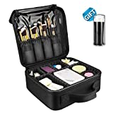 Travel Makeup Case, Portable Cosmetic Train Case with Adjustable Dividers for Makeup Tools + 50 Free Disposable Lip Brushes Review