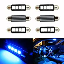 Ralbay 6pcs Blue 41mm 42mm Festoon 4-5050-SMD Car Interior Dome Number Plate Light Footwell Replacement Bulbs Lamp 12V 561 562 578 211-2