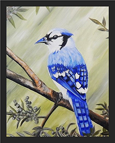 FRAMED Blue Jay by Ed Capeau 10x8 Art Print Poster Wall Decor Garden Wildlife Birds Bluejay from Ed Capeau Editions