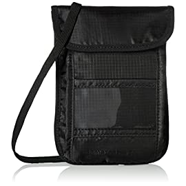 AmazonBasics RFID Travel Neck Passport Holder Wallet - Black 4 Travel neck stash keeps your cash, receipts, and important documents organized and secure RFID blocking material protects against unwanted scans Separate compartments for organizing items; convenient ID window