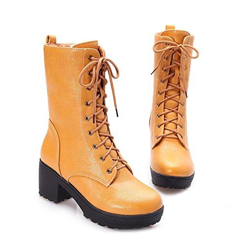 AmoonyFashion Womens Closed Round Toe Kitten Heels PU Short Plush Solid Boots with Bandage and Platform Yellow Ms8XnW