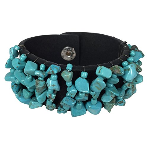 Black Leather Wrapped Snap (Simulated Turquoise Chip Stone Wire Wrapped Faux Leather Snap Bracelet (Black))