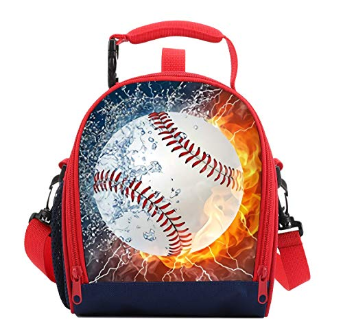Kids Lunch Box For Boys Resuable Multi Convertible Insulated Thermal Boys Lunch Bags Tote With Shoulder Strap Lunch Box Backpack Sandwich Snack Bags Girls For School 3D Baseball Lunch Bags For Kids