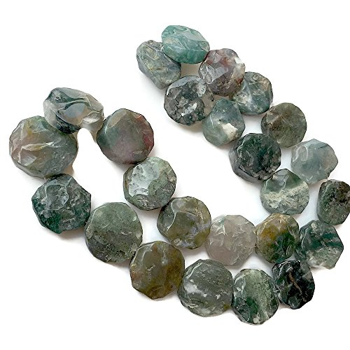 - 20-22mm Approx, 20 Inch Strand, Moss Agate Coin Beads, Natural Hammered Rough Agate Gemstone, SKU-Rg17