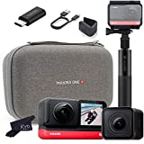 Insta360 ONE R Twin Edition - Super 5.7K Dual-Lens 360 Camera + 4K Wide Angle Mod 60FPS   Bundle Includes Carry Case, Audio Mic Adapter & Selfie Stick (3 Items)