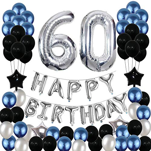 60th Birthday Decorations,Yoart 60 Birthday Balloons Party Supplies Happy 60 Birthday Banner Blue and Silver Black Foil Star Balloons for Women Men(81PCS)