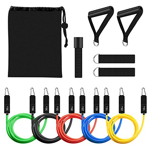 Resistance Band Set, Leekey 11pc Exercise Bands Workout bands with Carry Bag, Door Anchor, Handles, Ankle Straps for Body Stretching Physical Therapy and Resistance Training by  (Image #6)