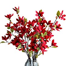 JAROWN 5 Pices Real Touch Magnolia Artificial Flowers Simulation Kapok Fake Flowers for Decoration (Red)