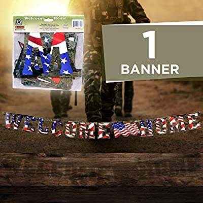 """Havercamp US Army Military Welcome Home Banner with American Flag – Welcome Home Banner Military with Large 7"""" Cardboard Letters, 7.5 Feet Long – Welcome Home Parties & Military Party Supplies: Toys & Games"""