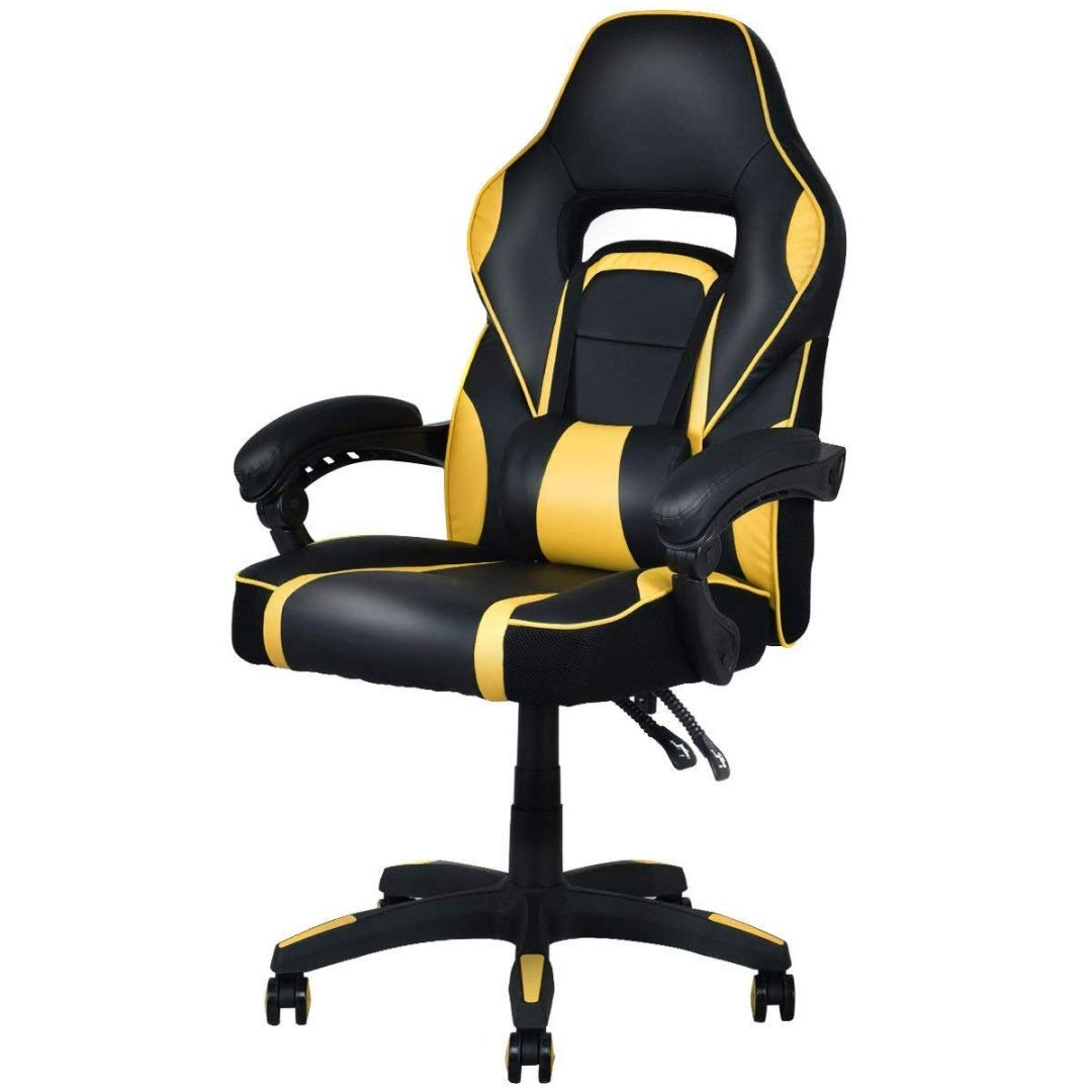 Modern Racing Style Gaming Chairs Thick Padded Seat PU Leather Upholstery Adjustable Recline Design Chair with Waist Pillow Home Office Furniture Decor - (1) Yellow #2125 by KLS14