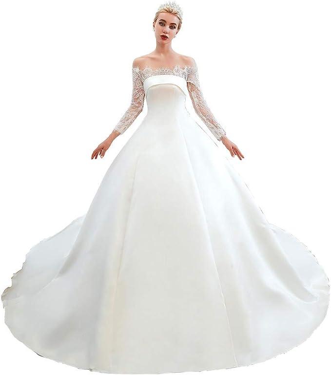 Amazon.com: Datangep - Vestido de novia de encaje con ...