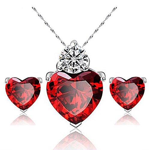 Style Elegant Heart (Hosaire Necklace Earrings Diamond Heart Style Elegant Women Jewellery Crystal Set of Crystal Pendant Necklace+Earrings Red)