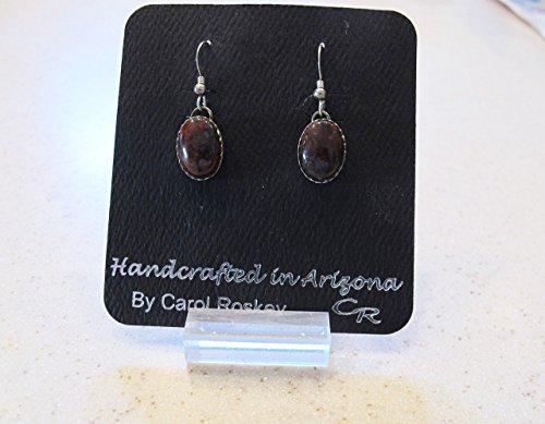 Earrings of Brecciated Jasper Cabochons Set in Sterling Silver
