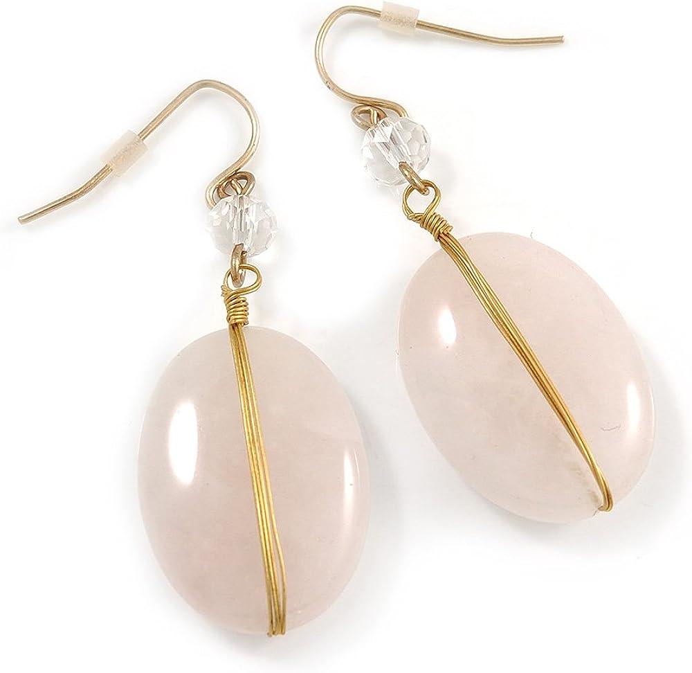 Pendientes de gota ovalados de cuarzo rosa inspirados en estilo vintage, con alambre dorado – 50 mm de largo