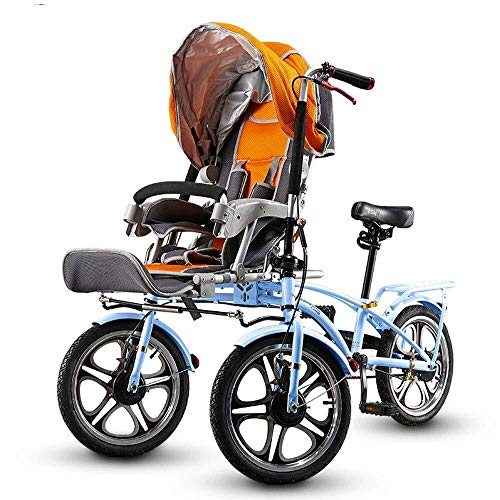 HZC Double Three-Wheeled Bicycle, Stroller Buggy Baby Child Pushchair, Foldable with Foot Switchable Bicycle, Pram Travel for Newborn and Toddler (Color : Blue)