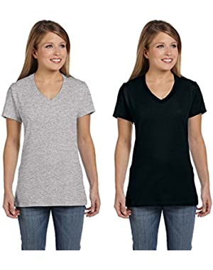 Assorted Hanes 2 Pack Womens Black and Grey V-Neck Tees (Size Small)