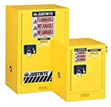 "Justrite 890421 Sure-Grip EX Galvanized Steel 1 Door Self Close Flammable Countertop Safety Storage Cabinet, 4 Gallon Capacity, 17"" Width x 22"" Height x 17"" Depth, 1 Adjustable Shelfs, Red"