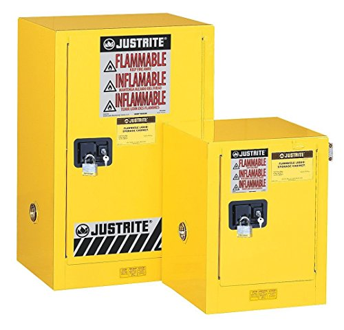 "Justrite 890421 Sure-Grip EX Galvanized Steel 1 Door Self Close Flammable Countertop Safety Storage Cabinet, 4 Gallon Capacity, 17"" Width x 22"" Height x 17"" Depth, 1 Adjustable Shelfs, Red"