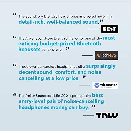 Anker Soundcore Life Q20 Bluetooth Headphones with Travel Case, Hybrid Active Noise Cancelling, 40H Playtime, Wireless Over Ear Headphones for Travel, Work (Black) 51MWNSo4PnL