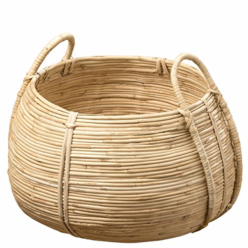 Whole House Worlds The Naturally Modern Belly Basket, Rustic Natural,Woven Palm Cane, Stitched and Ribbed Details, Carry Handles, Over 1 Ft in Diameter (17¾ D x 14¼ H Inches) by