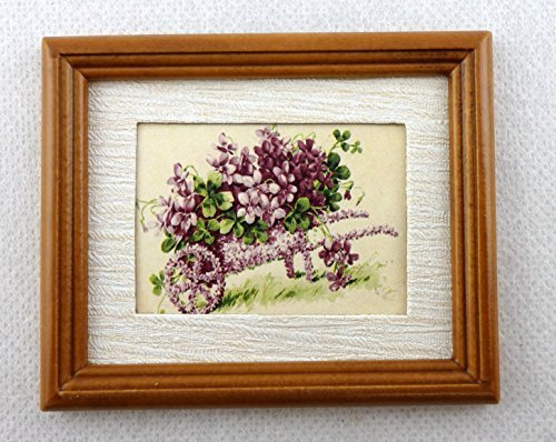 Melody Jane Dolls Houses House Miniature Accessory Wheelbarrow Of Violets Picture In Walnut - Frame Violet