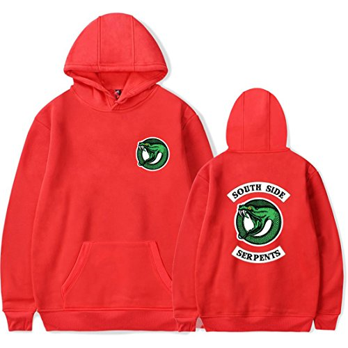 Homme Rouge Longues Manches Side Riverdale Emilyle Sweat Pull Serpent South RTwqxfd