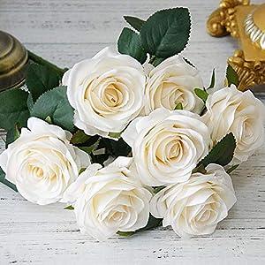 elegantstunning Artificial Flowers Rose Bouquet Fake Flowers Silk Plastic Artificial Roses 10 Heads Bridal Wedding Bouquet for Home Garden Party Wedding Decoration White 34