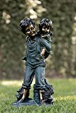 Cheap Alpine Boy Giving Piggyback Ride Statuary, 16 Inch Tall