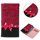 """Universal Cell Phone Flip Case, JULAM PU Leather Skin Protective Folio Case Cover Wallet Bag Card Slots Compatible LG G Stylo G4 Stylus 4G LS770 H631 F560K 5.7"""" More (Leopard)"""