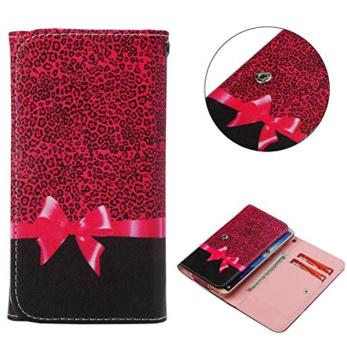 Cell Phone Flip Case for Infinix S3X X622 6.2 and More, Tenplus Universal Folio Case Cover PU Leather Skin Protective Wallet Clutch Bag with Card Slots (Leopard)