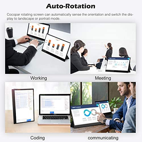 4K Portable Monitor Touchscreen 15.6 Inch UHD 3840×2160 Gravity Sensor Automatic Rotate Game Monitor IPS Eye Care Metal Frame Dual USB with HDMI Type C Speakers for Laptop PC PS4 Xbox Mac Phone 51MWO 2BvhYML