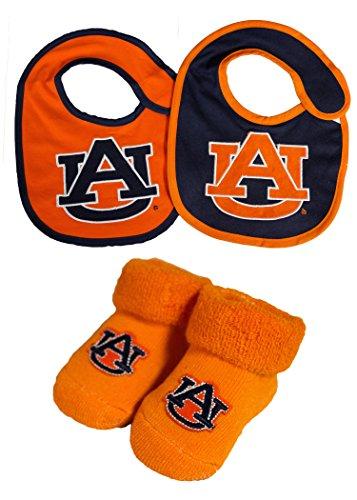 NCAA Auburn Tigers Infant Booties and 2 Pack Bib Set - Auburn Tigers Bib