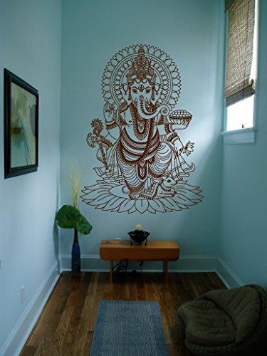 Ik430 Wall Decal Sticker Room Decor Wall Art Mural Indian God Om Elephant Hindu Success Buddha India Ganesha Ganesh Hindu Welfare Bedroom Meditation ()