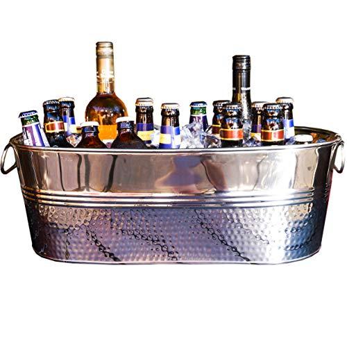 BREKX Colt Hammered Stainless Steel Party Beverage Tub & Wine Chiller - ()