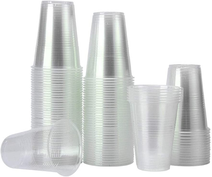 TashiLiving Clear Plastic Coffee Disposable Transparent hot and Cold drink Cups for Water, Tea, Juice, Soda, Milk, 12 Ounce, BPA-Free