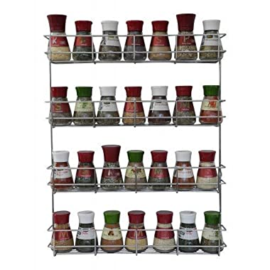 4 Tier Spice Rack - Cabinet Door and Wall Mountable Spice Rack - Herb Rack Chrome - Kitchen Cupboard Storage Organizer by Copa Design® - Holds 32 Jars