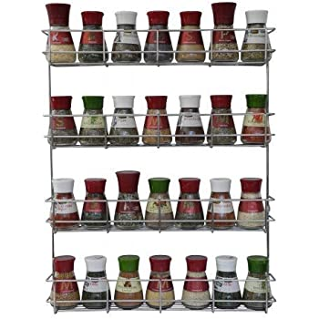 4 Tier Spice Rack - Cabinet Door and Wall Mountable Spice Rack - Herb Rack Chrome - Kitchen Cupboard Storage Organizer by Coninx - Holds 32 Jars  sc 1 st  Amazon.com & Amazon.com: YonTree 5 Tiers Steel Spice Rack Herb Jar Holder Cabinet ...