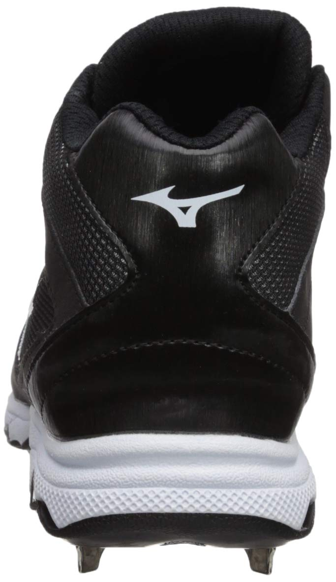 Mizuno Women's 9-Spike Advanced Sweep 4 Mid Metal Softball Cleat Shoe, Black/White 6 B US by Mizuno (Image #2)