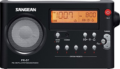 Sangean All in One Compact Portable Digital AM/FM Radio with Built-in Speaker, Earphone Jack, Alarm Clock Plus 6ft Aux Cable to Connect Any Ipod, Iphone or Mp3 Digital Audio Player