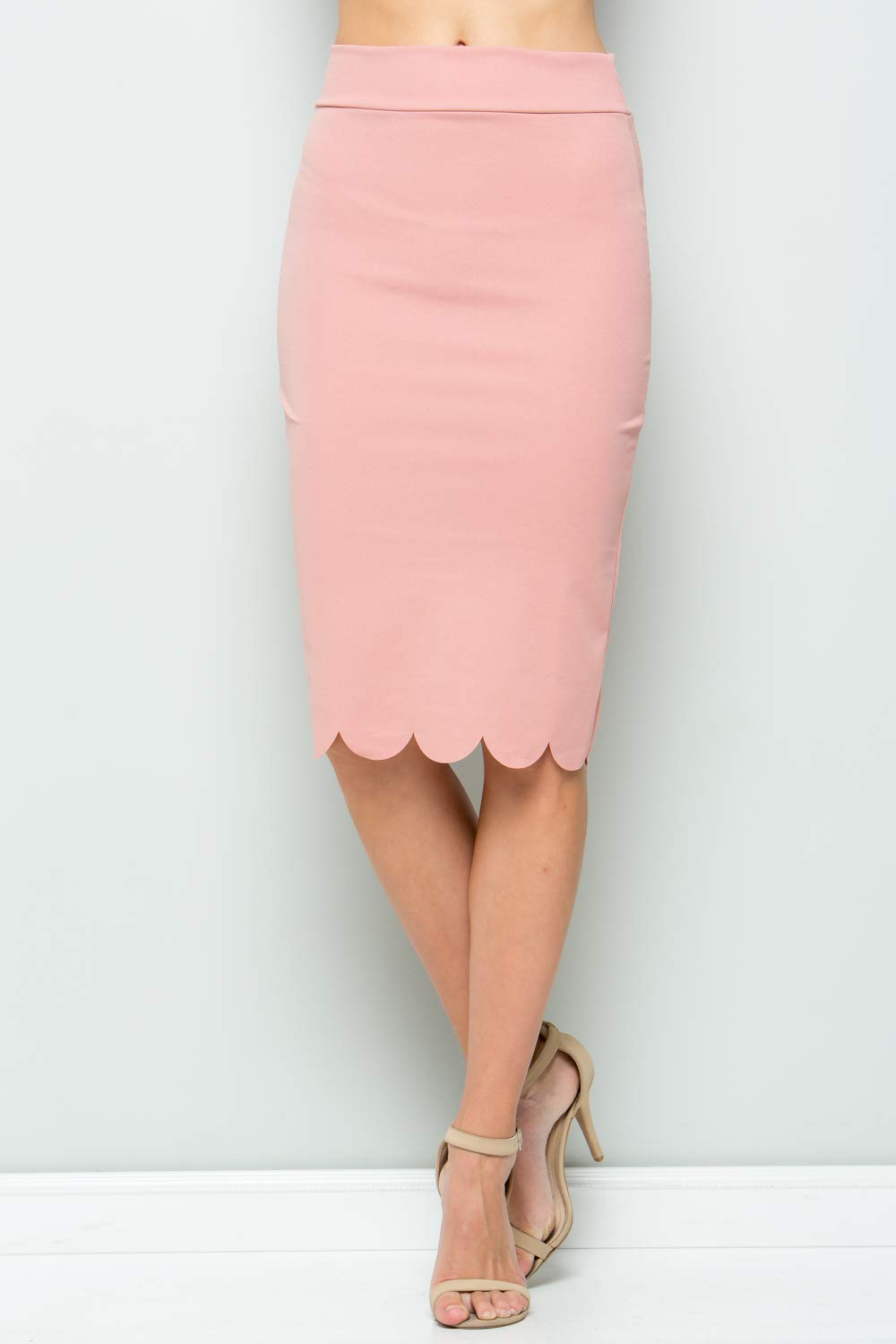 Junky Closet Women's Scallops Knee Length High Waisted Pencil Skirt (Made in USA) (1X-Large, 3635CLAF Dusty Pink) by Junky Closet (Image #2)