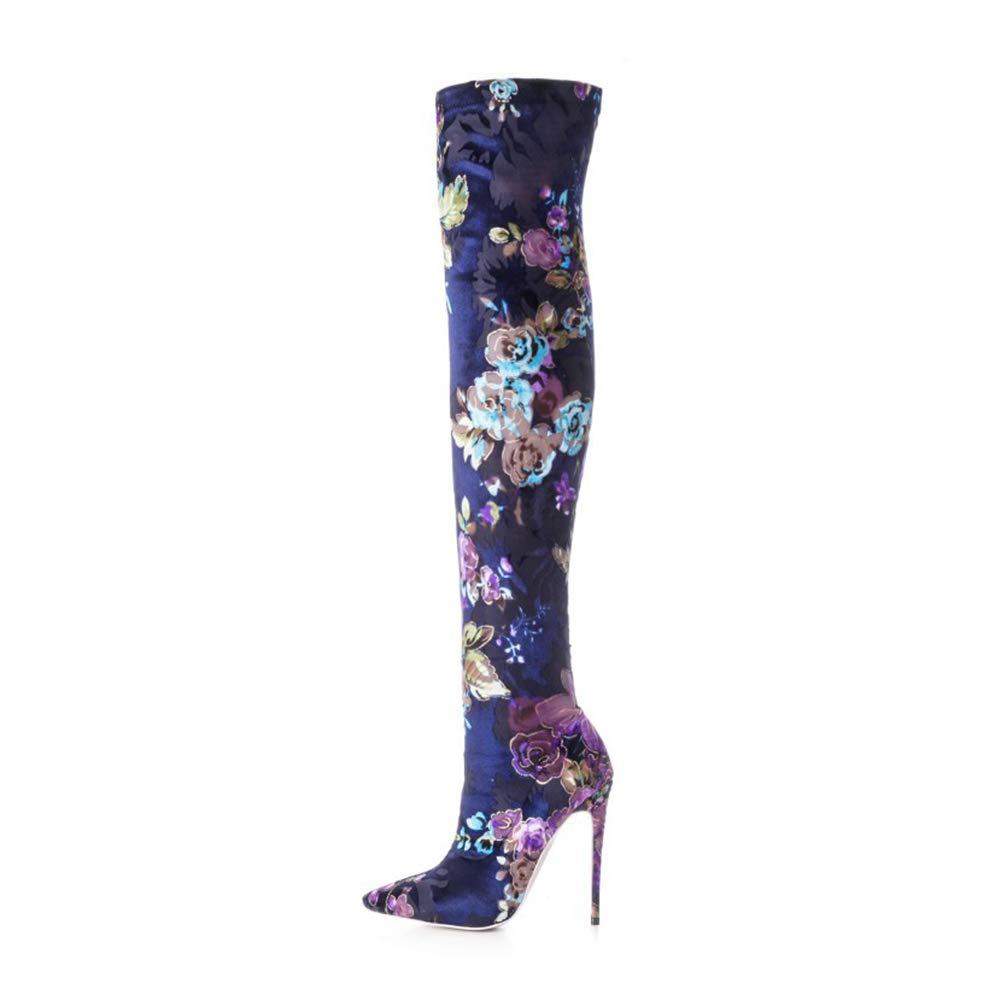 WHL.LL Frauen Spitze Schlanker High Heel Stretch-Stiefel Mode Farbe Hoher Absatz Kniestiefel Schmale Passform Ofenrohr Stiefel (Absatzhöhe  15Cm)