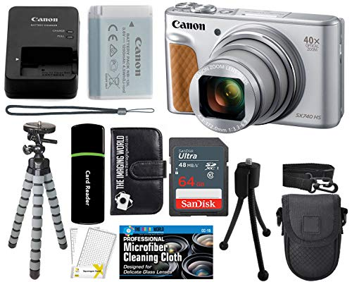 (Canon PowerShot SX740 HS Digital Camera (Silver) with 20MP, 4K HD Video, 40x Optical + 40x Digital Zoom, Wi-Fi, Bluetooth and 3.0