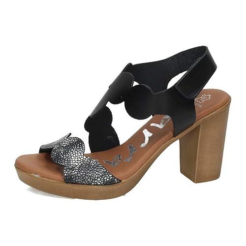 Piel Mujer Sandals TacónAmazon Negras es Karralli Sandalias 4386 wm80Nvn