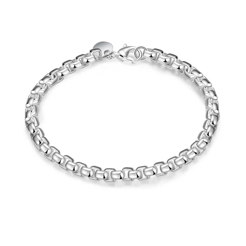 Star Jewelry Fashion Geometry Box chain sterling Silver plated Bracelet