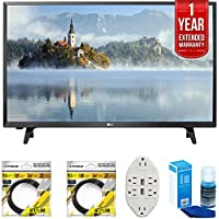 LG LJ500B Series 32 Class LED HDTV 2017 Model (32LJ500B) with 2x 6ft High Speed HDMI Cable, Transformer Tap USB w/ 6-Outlet, Screen Cleaner for LED TVs & 1 Year Extended Warranty